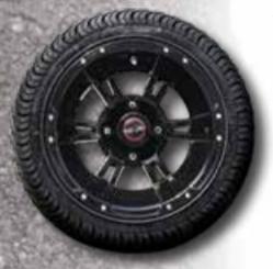 Outlaw Street Car Association - Race Star Wheels - 12x7 Set of 4 Golf Cart Wheels Gloss Black and Tires